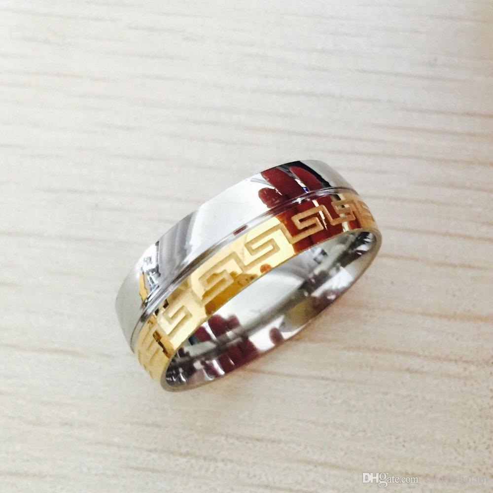 Besteel Mens Stainless Steel Band Ring Engraved Greek Key Vintage Wedding 8mm 18k gold silver filled Size 6-14