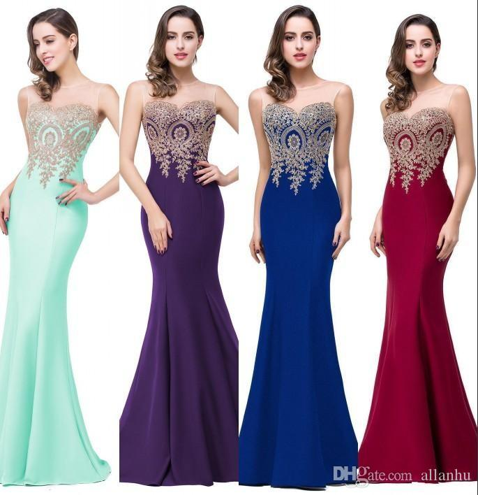 2017 Nuevo Diseñador de Moda EN STOCK Vestidos de Fiesta de Sirena Baratos Sheer Neck Lace Applique Vestidos de Fiesta de Noche Alfombra Roja Vestidos de Pista