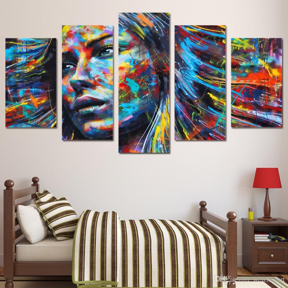 5 Панель HD Printed Красочный волос Рисунок Афиши Женщина лицо и печать на холсте домашний декор стены искусства живописи