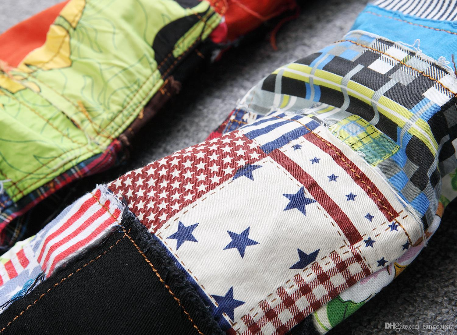 Men's patchwork spliced ripped denim jeans Male fashion slim colored patch buttons fly straight pants