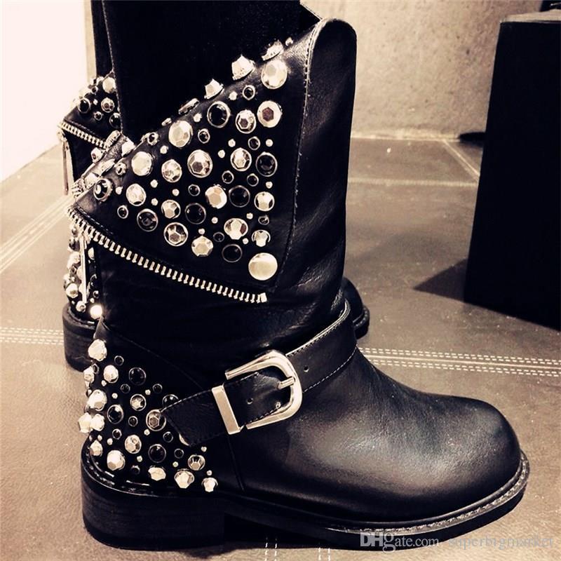 MORAZORA Haute qualité PU + bottes en cuir véritable rivets talons carrés automne hiver bottes sexy fourrure bottes de neige chaussures femme