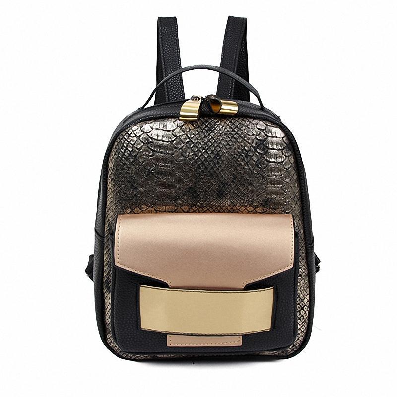 7f31ea3f58e7 Wholesale Hot European Golden Snakeskin Design Women S Backpacks Serpentine  2016 Women Fashion Flip Backpack All Match Vintage Travel Bags Backpack  Brands ...