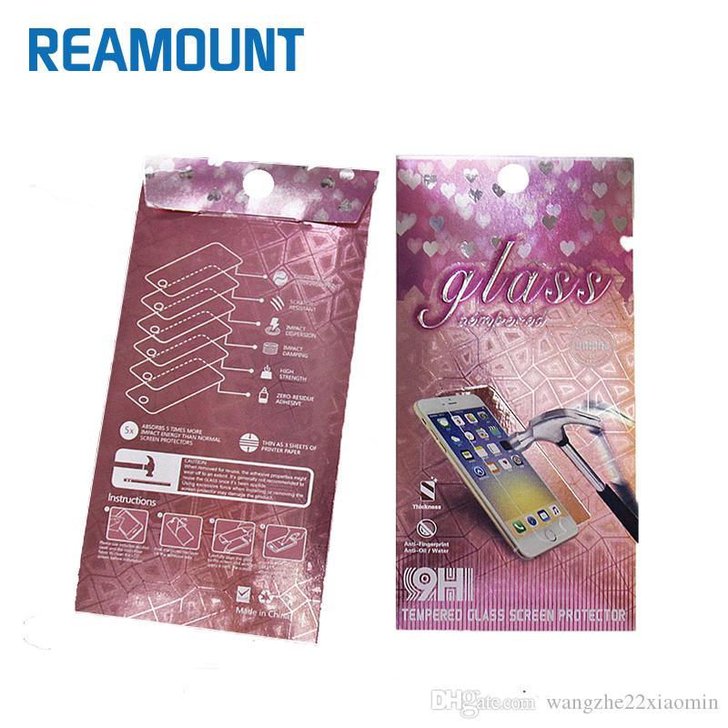 Emballage de papier de logo de mode d'impression pour la protection d'écran de téléphone portable prime la boîte d'emballage d'écran de verre trempé pour l'iphone 7 7plus