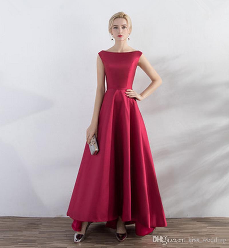 9aa6ca4d4 Compre Vestido De Fiesta Hermoso Vestido De Cóctel Rojo Vino Escote Redondo  Sin Mangas Sexy Para Mujer Vestidos Formales Desgaste De La Tarde Por  Encargo ...