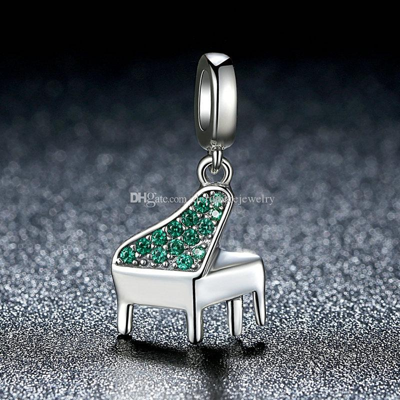 Real 925 Sterling Silver Dangle Charms with Green Enamel Piano Pendant Beads for DIY Beaded Charm Bracelets & Necklaces S409