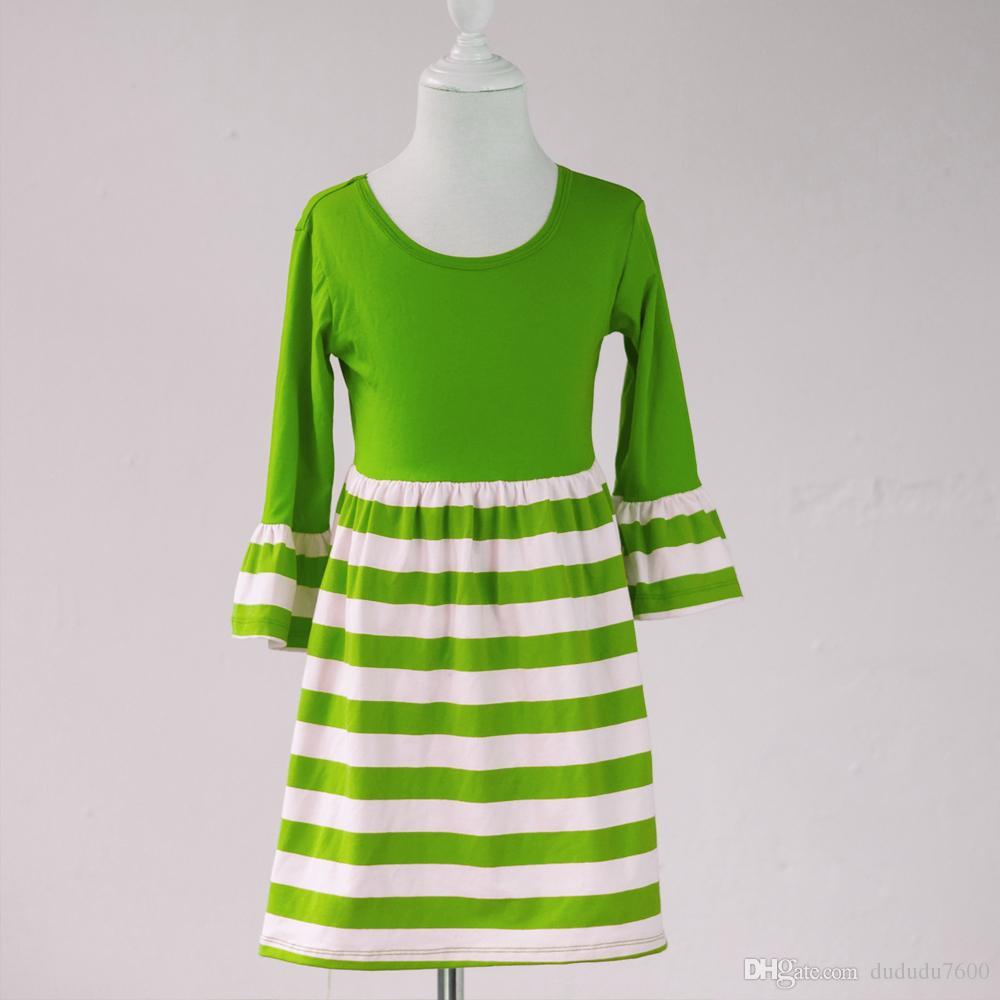 kids single ruffle dress cotton new design normal party dress baby girls