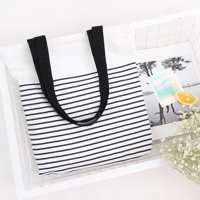 Wholesale- Cute Striped Cotton Canvas Handbags / Eco Daily Female Single Shoulder Shopping Bags Tote Women Beach Bags