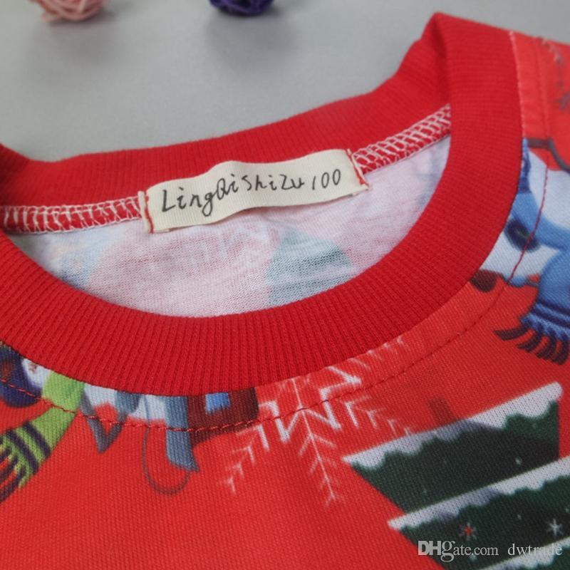 2017 Christmas Pajamas for Kids Pijama Sets Boys Pajamas Girls PJS Sleepwear Baby Pyjamas Santa Nightgown Santa Claus Pijama Suit Wholesale