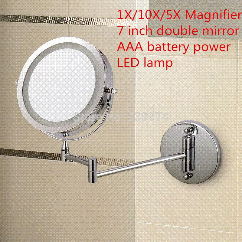 Afsel Makeup Mirrors Led Wall Mounted Extending Folding Double Side Light Mirror 10x Magnification Bath Toilet Vanity Bathroom