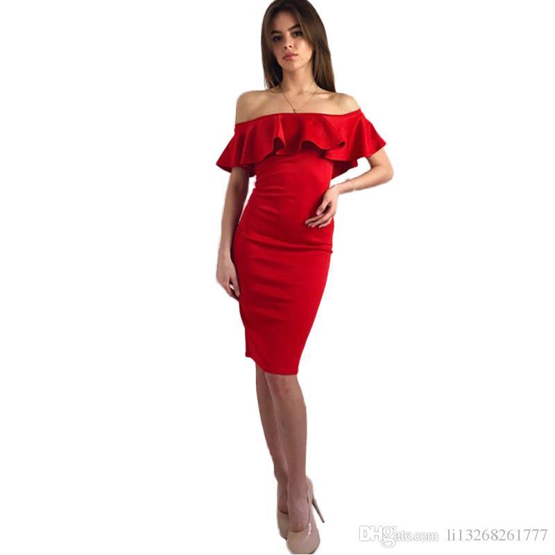 Elegant Women Dress 2017 Sexy Off Shoulder Casual Ruffles Slash ...