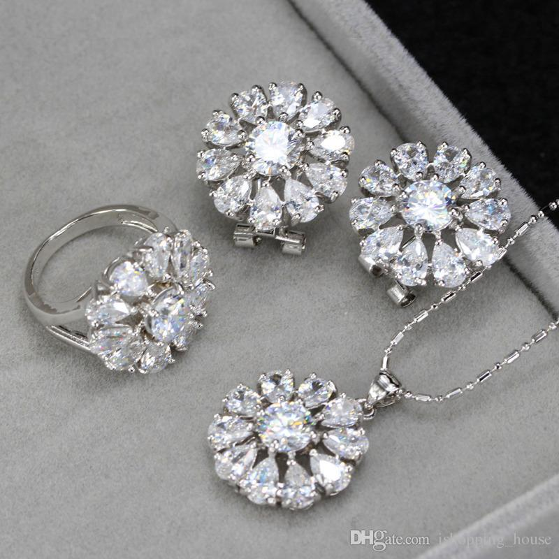 Hotsale High Quality White Gold Plated Zircon 3 in 1 Flower Jewelry Set for Girls Women for Party Earrings Necklace Ring LY-030