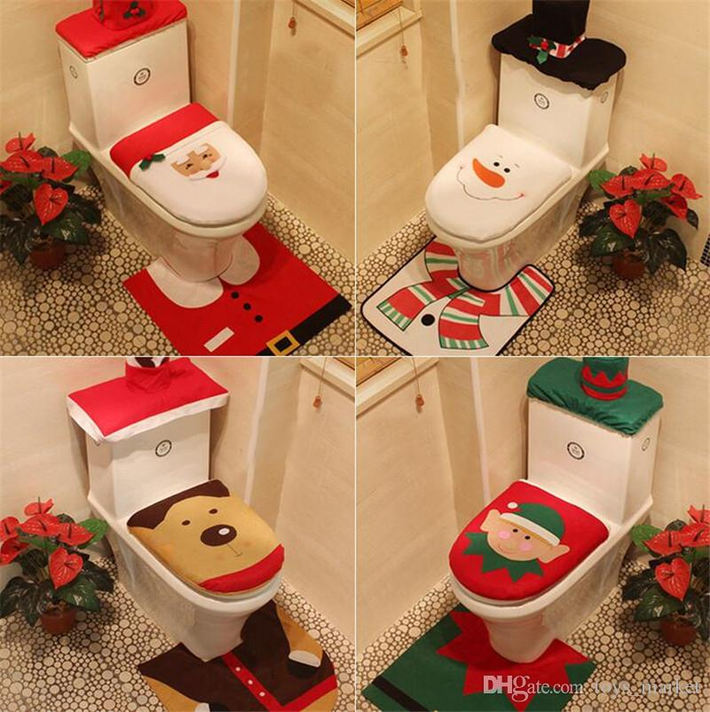 4 Styles Merry Christmas Decoration Toilet Seat Cover Santa Elk Elf Rug Hotel Bathroom Set Best Xmas Decorations Gifts