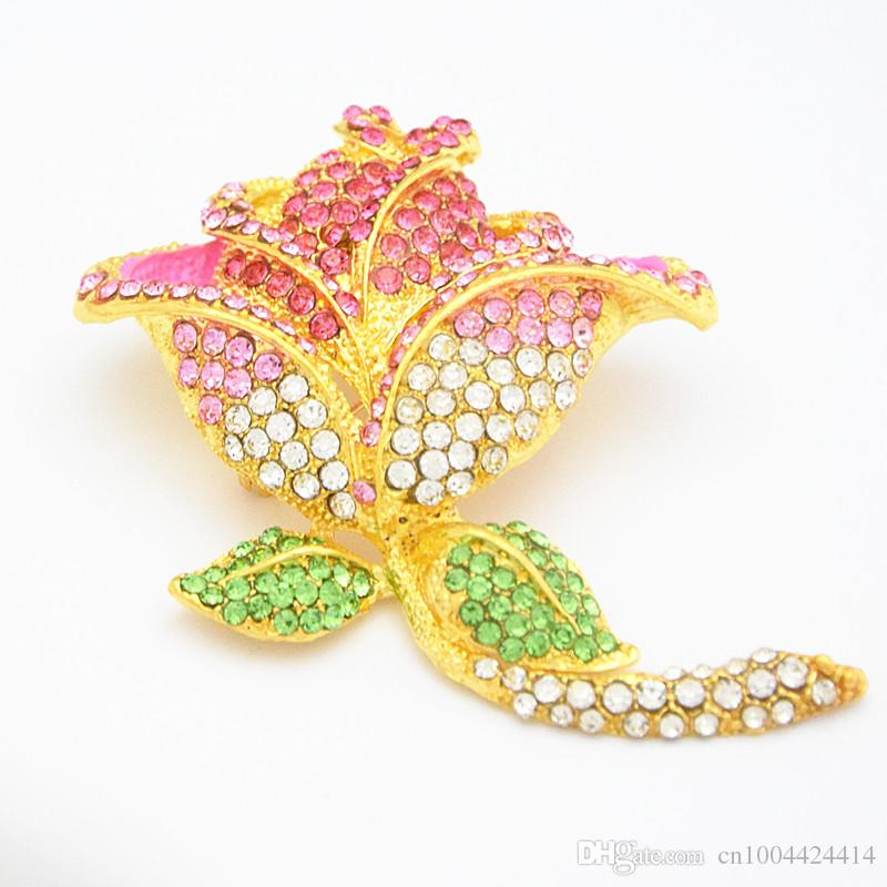 Stunning Austrian Crystals Gold Tone Big Rose Brooch Exquisite Large Rose Flower Women Hijab Bridal Bouquet Broaches