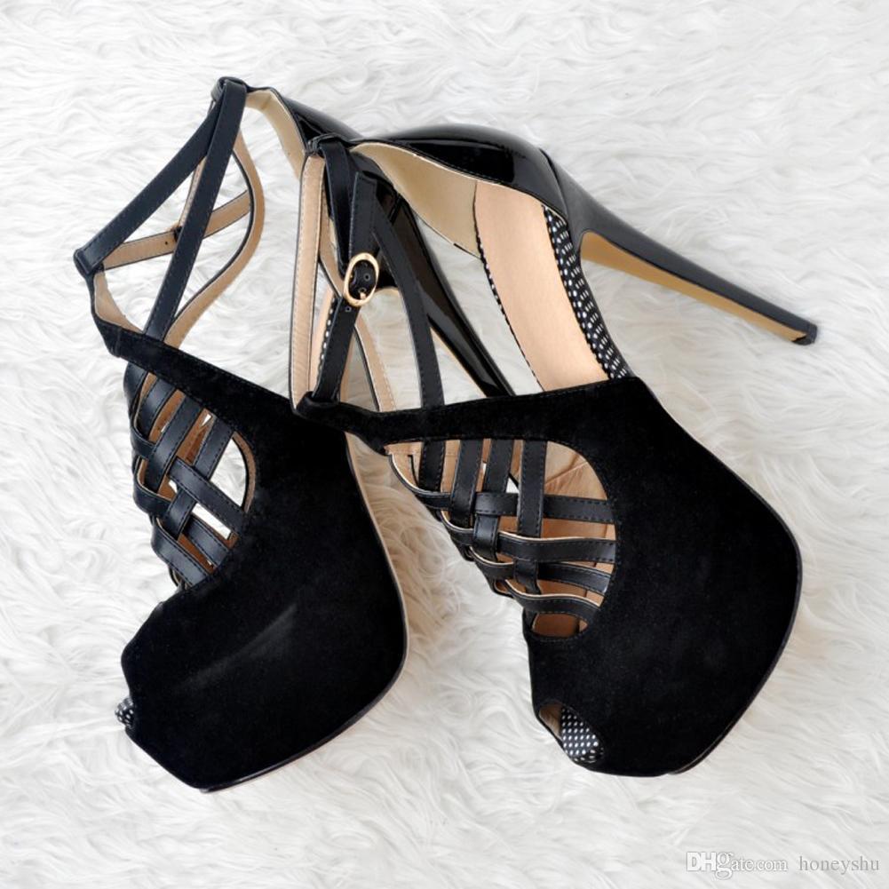 Kolnoo Womens Fashion Handmade 15cm Slim Heel Peep-toe Platform Party Wedding Pumps Summer Shoes Black XD022