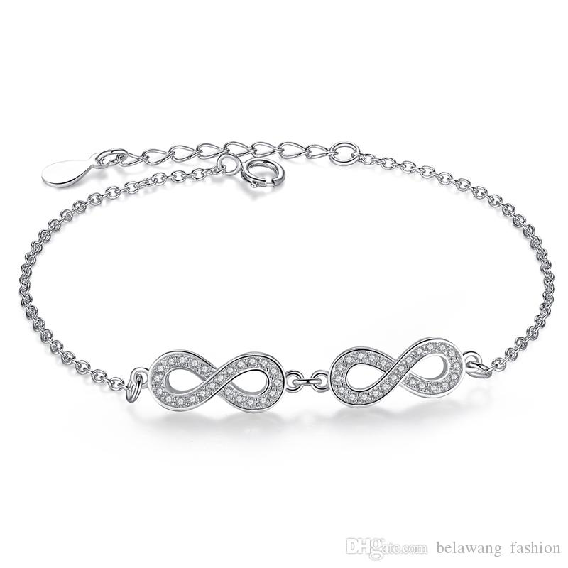 e3613ad19b BELAWANG New Design Wedding/Engagement Jewelry Gift 925 Sterling Silver  Infinity Charms Bracelet For Women CZ Crystal Link Chain Bracelet