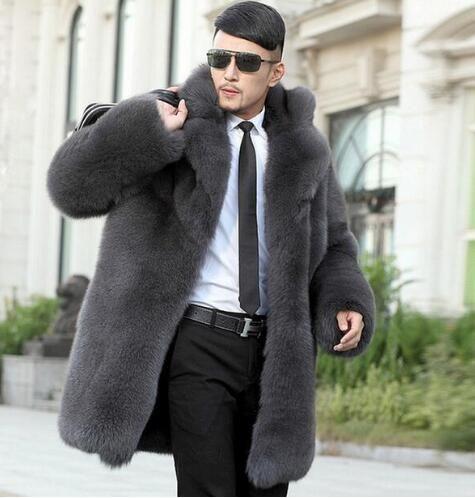 9efbbb3cfb82 2019 Grey Warm Faux Rabbit Fur Coat Mens Leather Jacket Men Coats Villus  Suit Collar Winter Loose Thermal Outerwear 4575752745274432424 From  Pengliuwang, ...