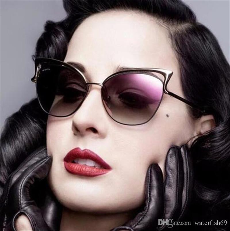 Cat Eye Sunglasses Women Brand Designer Twin Beam Mirror Sun Glasses ...