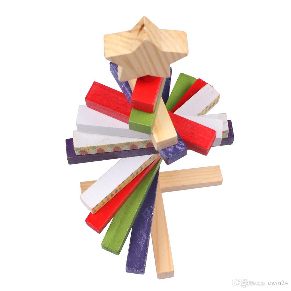 Вращающийся деревянные блоки Рождественская елка творческие ремесла подарок домашнего декора игрушки 11.8 дюймов Санта-Клаус для детей