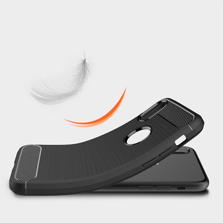 Coque Pour iPhone 11 PRO MAX XS MAX XR Galaxy Note 10 S10 PLUS S9 S8 PLUS Brosse De Protection En Fiber De Carbone Mobile Téléphone Cas Doux avec Sac D'opp