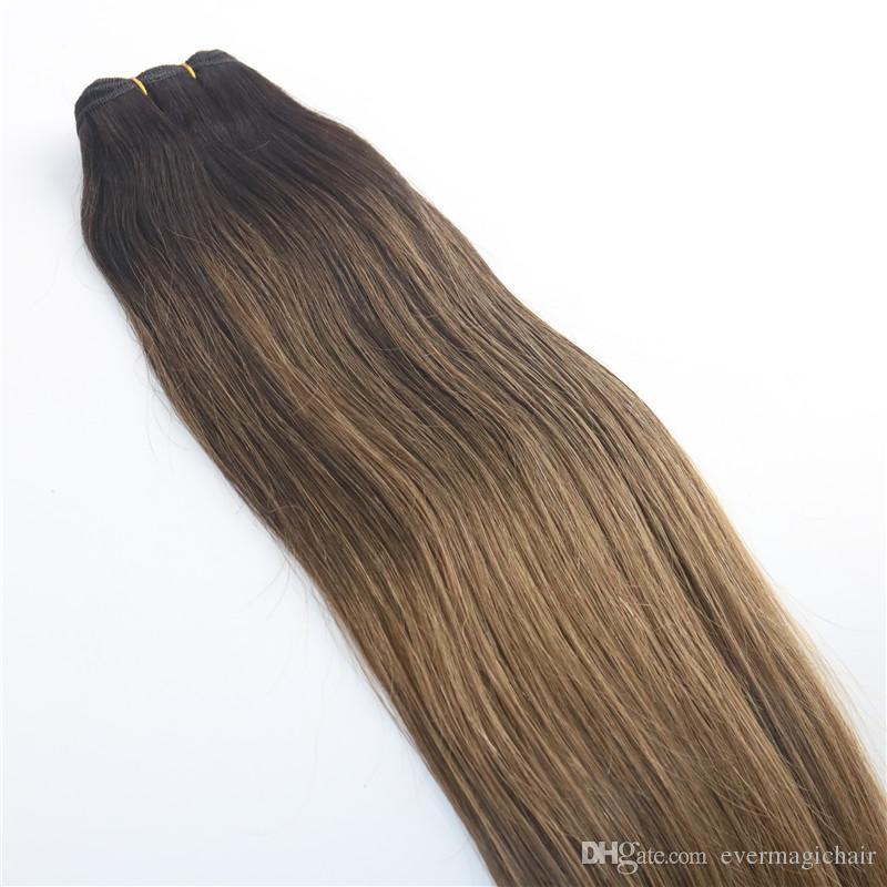 Balayage Ombre Dye # 2 # 8 Marrom de Alta Qualidade Venda Quente de Cabelo Virgem Brasileiro Em Linha Reta Cabelo Humano Weave Extensões Bundles 100g