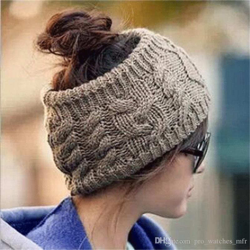 2017 Fashion Women Crochet Caps Headband Knit Hairband Winter Ear Warmer  Head Hat Empty Top Winter Hats Christmas Gifts F896 1 Baby Boy Hats Black  Baseball ... c5c36893afb