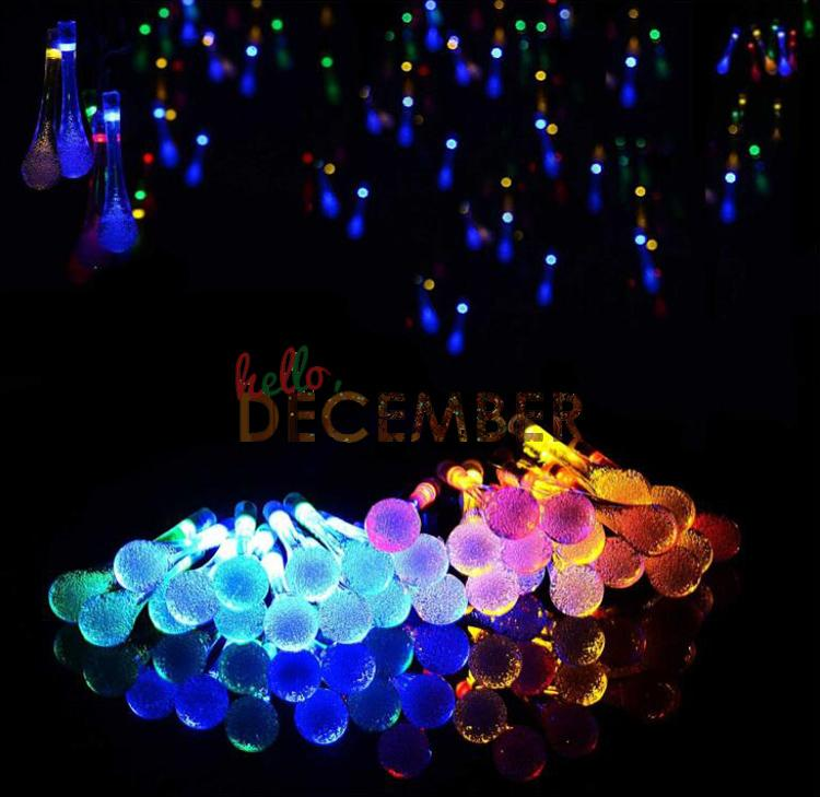 Water Drop LED Solar Light String 6M 30 LEDs RGB/Blue/Red/Green/Pink/Purple/Warm/Cool Outdoor Waterproof Decorative Lighting LED Strings