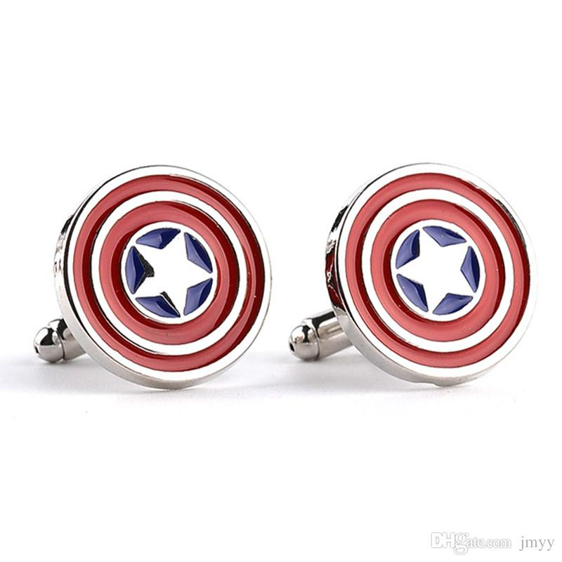 The Avengers Captain America Gemelli Moive Gioielli Uomo Lega Smalto Gemelli Camicie Gemelli in argento placcato regalo