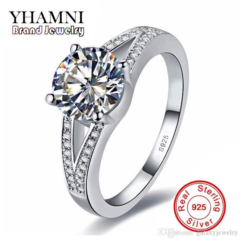 eee3722c43e1 Compre YHAMNI Original 100% 925 Anillos De Bodas De Plata Esterlina Para  Las Mujeres De Lujo 1.5 Ct Sona CZ Anillo De Compromiso De Diamantes H412 A   12.3 ...