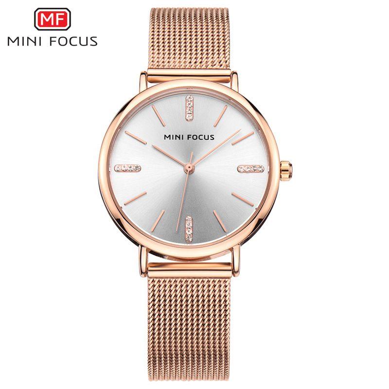 155352d08e6 2018 mulheres subiram relógios de ouro de aço inoxidável malha banda lady  dress moda simples pulseira de relógio de pulso marca de luxo strass relógio  ...
