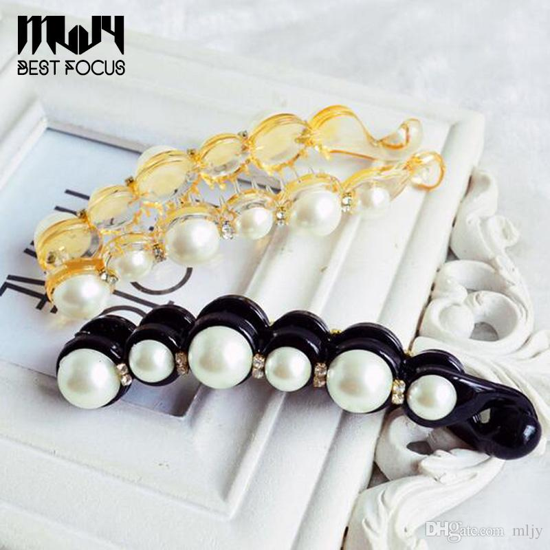 MLJY Pretty Pearls Hairpins Long Barrettes Pearl Hair Clips for Women Girls Ponytail Banana Clamps Hair Accessories