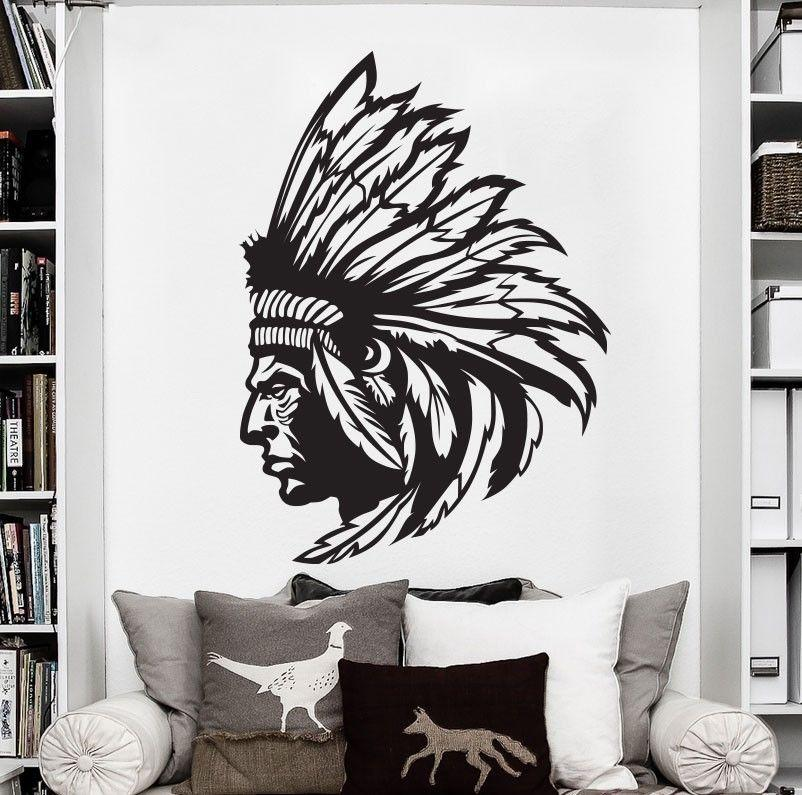 Redskin Native American Indian Chief Wall Decal Sticker Decor Wall ...