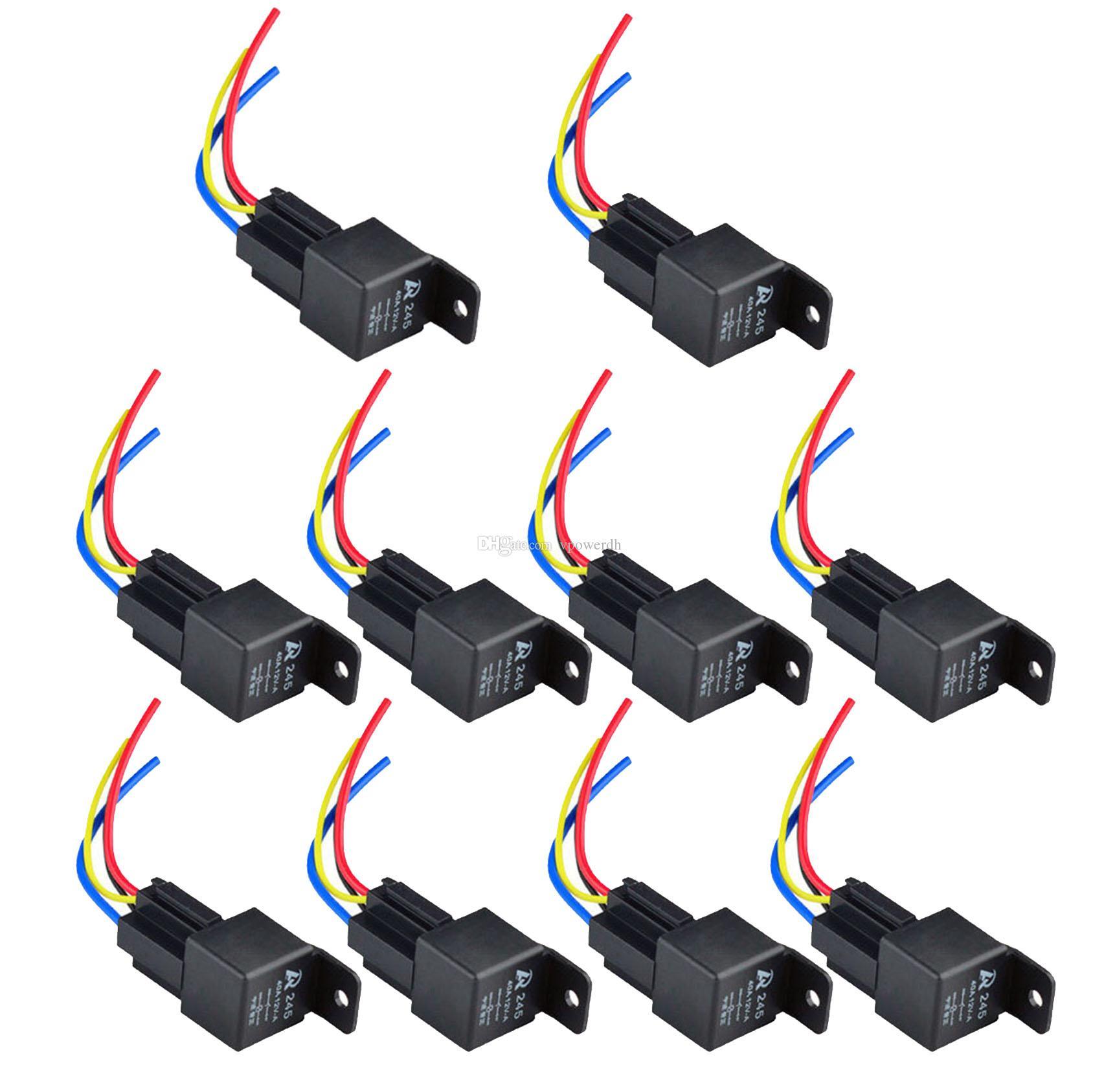 12V 12Volt 40A 자동 자동차 릴레이 소켓 40 앰프 4 핀 릴레이 전선 M00003 VPRD