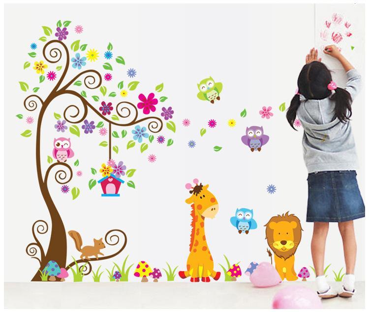 Dfab Cartoon Animals Tree Wall Stickers Children Room - Wall stickers for kids
