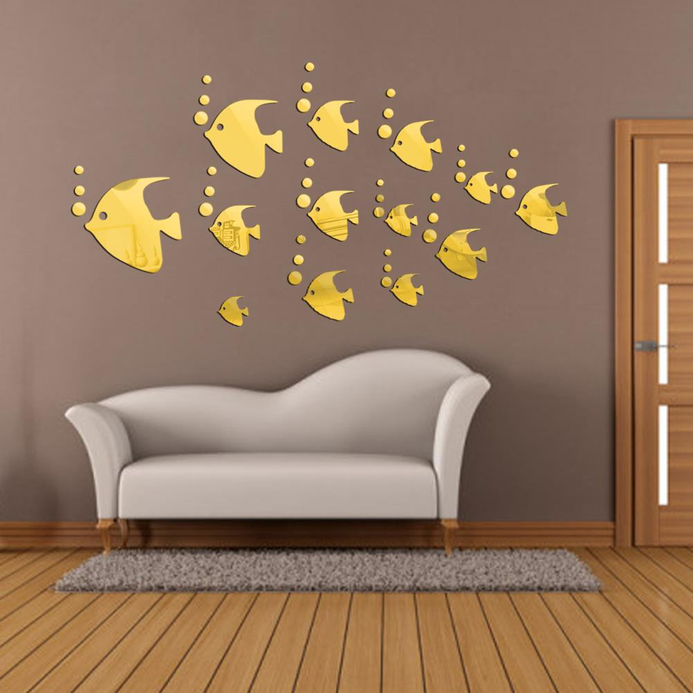 Modern 3d Wall Stickers Wall Art Decorative Fish Shape Acrylic Mirror  Stickers For Home Living Room Decor Silver Golden Removable Wall Decals For  Living ... Part 86