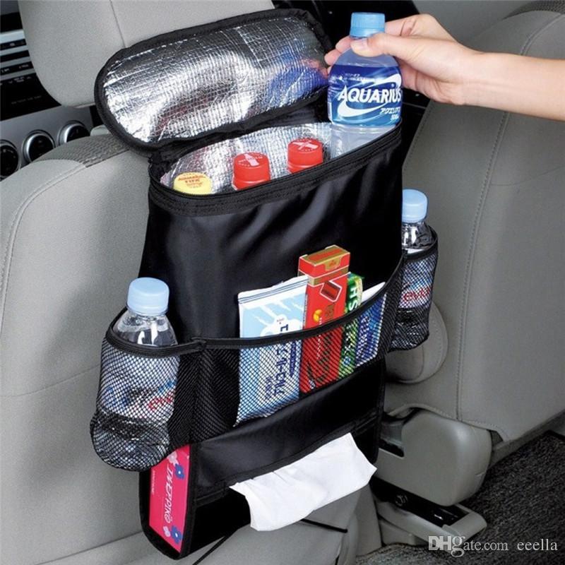 Auto refrigerador de coche del asiento del bolso multi del organizador del bolsillo de refrigeración Disposición asiento trasero del bolso que labra la silla cubierta de asiento del sostenedor del organizador