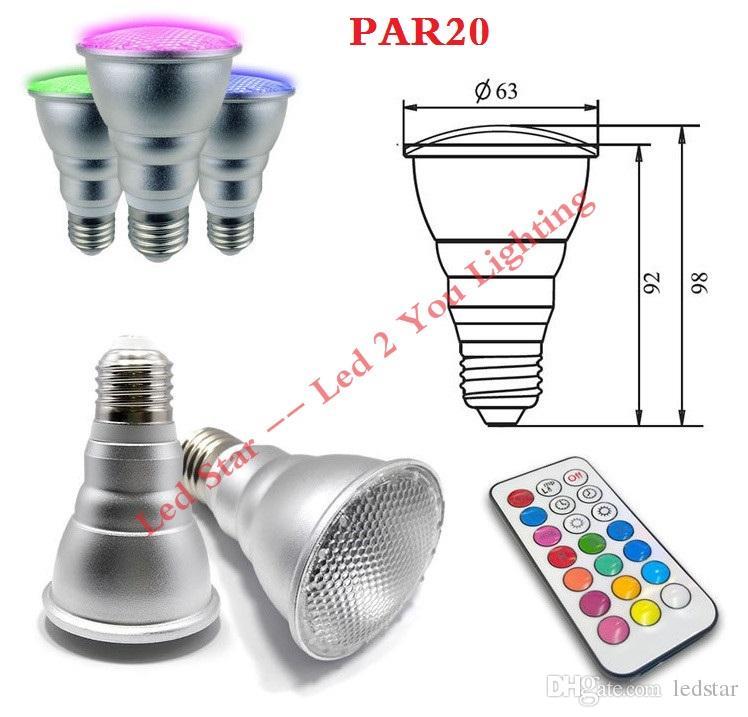 PAR20 5W PAR30 10W Led Lights RGB RGBW Led Bulbs Waterproof Led Lamp AC 110-240V + Remote Control