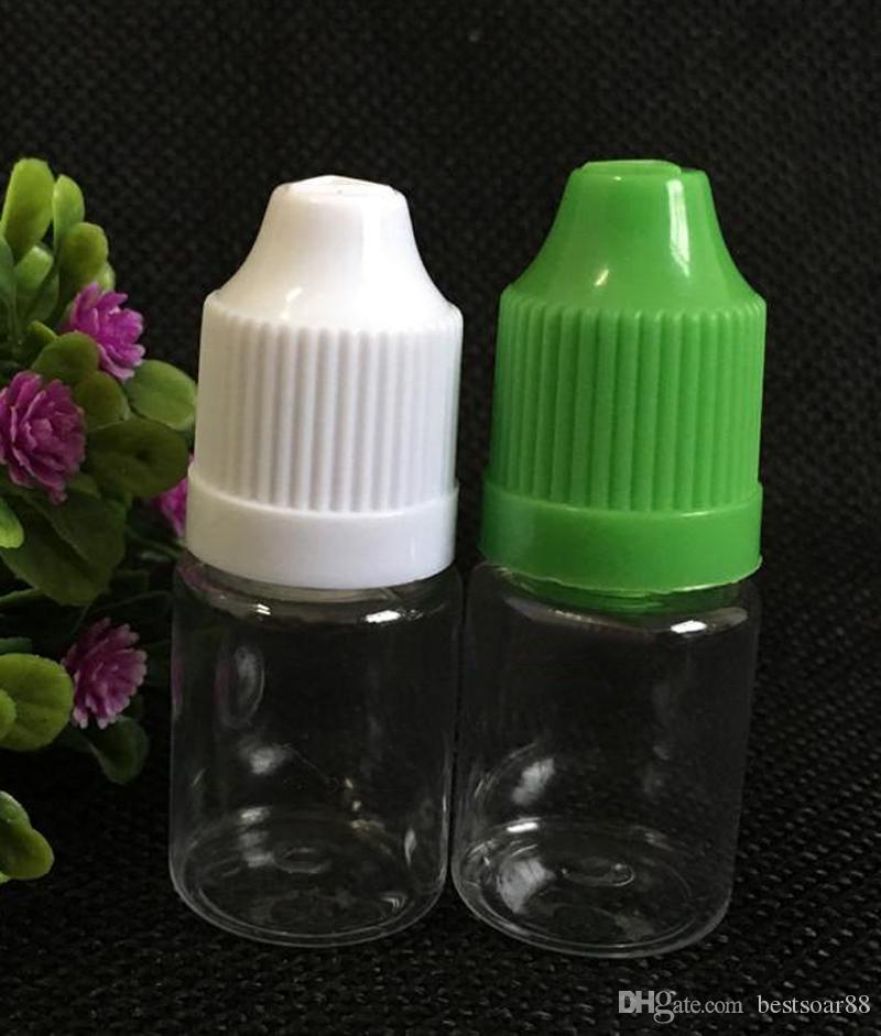 Clear Empty PET Bottles 5ml E Cig Plastic Dropper Bottles With Childproof Cap And Long Thin Dropper Tip E Cigarette Bottles 5ml