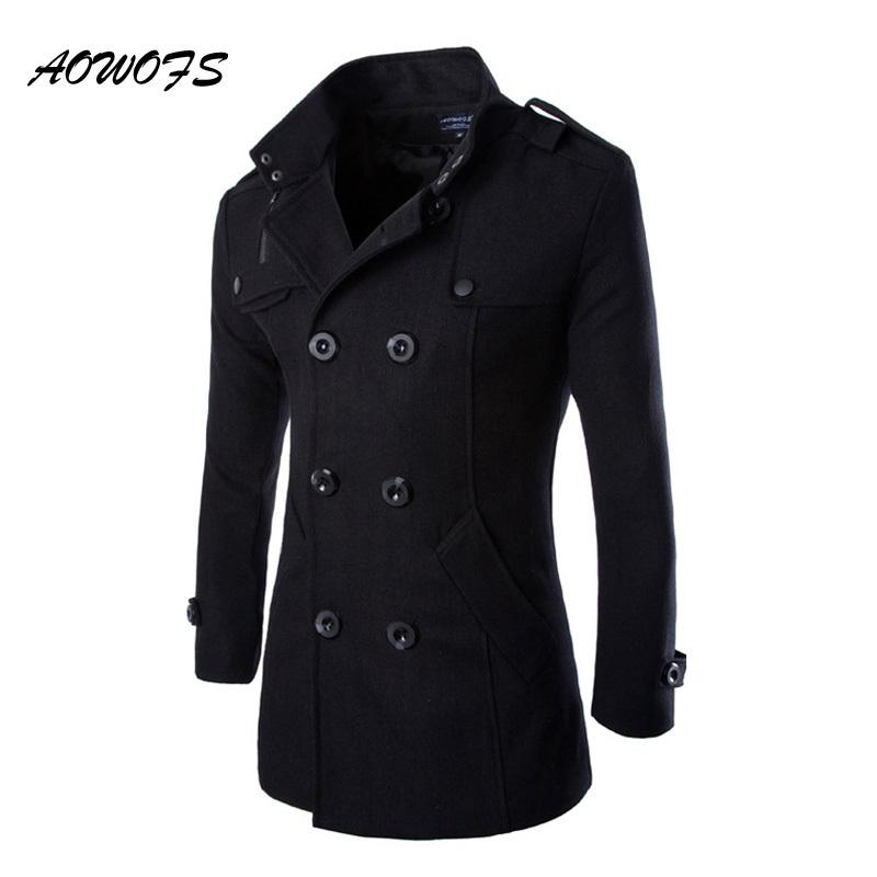 Aowofs Winter Men Wool Pea Coats Black Mens Overcoat Short Trench ...