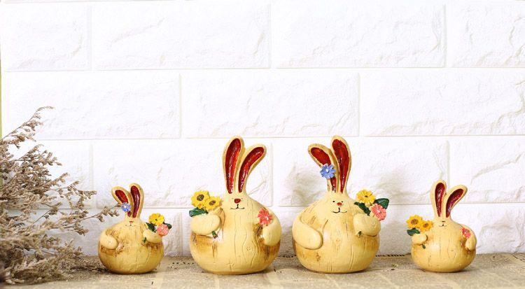 /Pair Zakka Resin Fat Rabbit Couple Figurine Long Ears Garlic Rabbit Ornament Animal Sculpture Home Decor Wedding Ornament