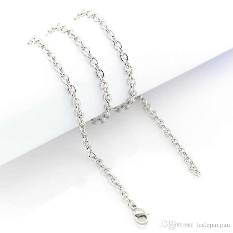 Panpan Jóias de 3.5mm de largura de aço Inoxidável em forma de cadeia para medalhão de vidro charme flutuante, sem medalhão