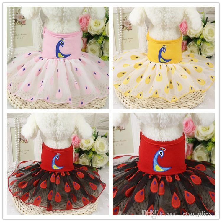 9a065a0a8 D12 recién llegado de verano vestidos de mascota falda pavo real patrón  perrito perros gatos princesa vestido falda del perro ropa traje de vestir