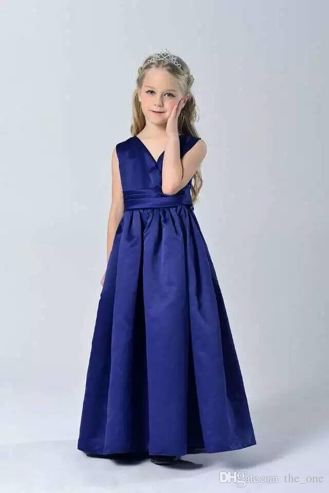 2018 Fashion Elegant Sapphire Blue Wedding Party Kid Girls Formal ...
