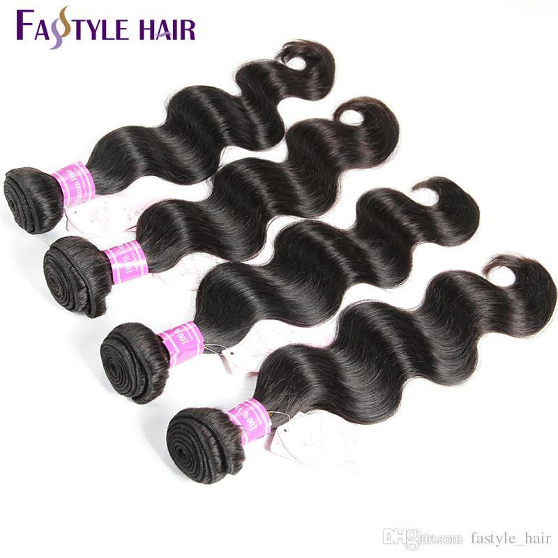 Fastyle Brazilian Body Wave Unprocessed Brazilian Virgin Human Hair extensions Brazilian Weave Bundles Natural Black color Best Quality