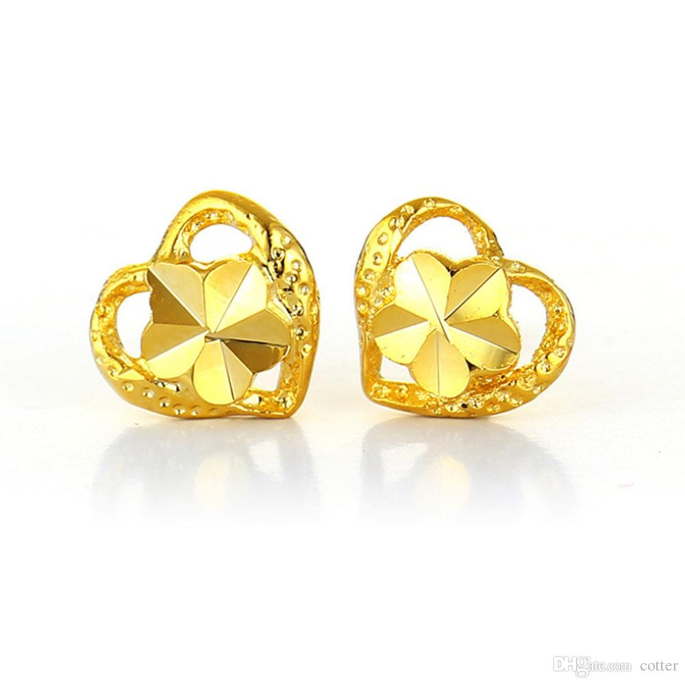 earrings itm uk gold stud yellow diamond fashion dainty heart shaped new diamonds