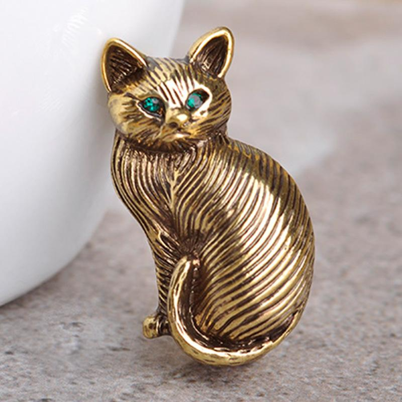 Blucome Cute Green Crystal Eyes Cat Brooches For Women Kids Collar Hats Cartoon Pet Brooch Suit Lapel Pins Vintage Broche Mujer