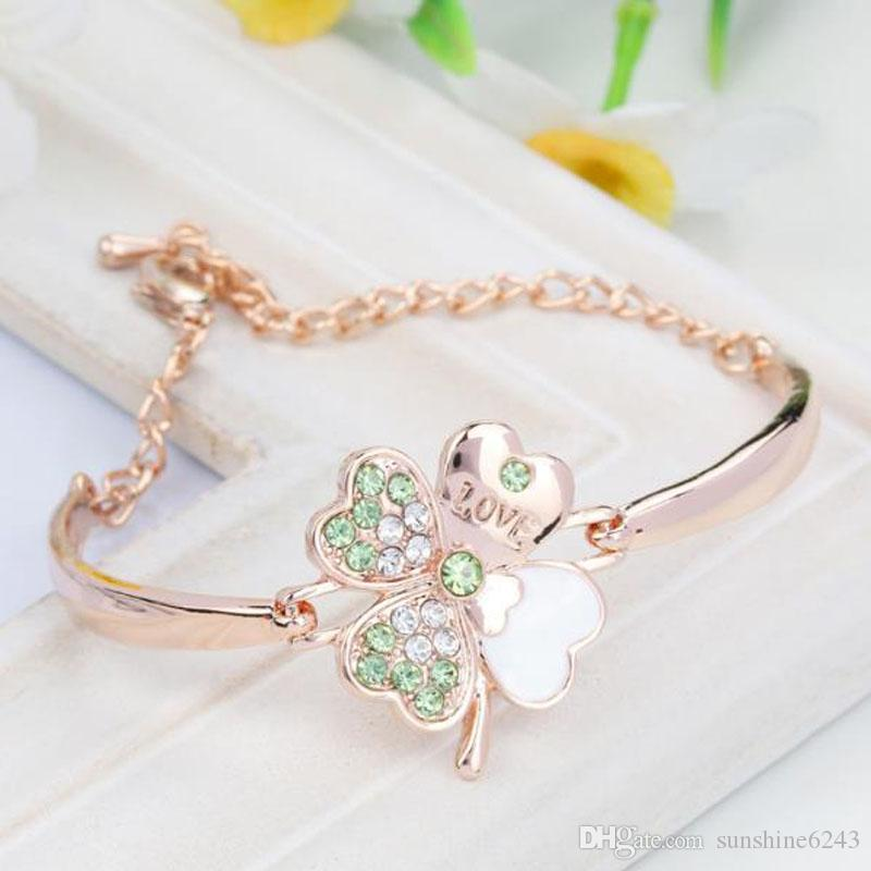 Crystal Four Leaf Clover Bracelets bangle Cuff Letter Love Charm Diamond Inspirational Jewelry for Women Girls Lucky Gift