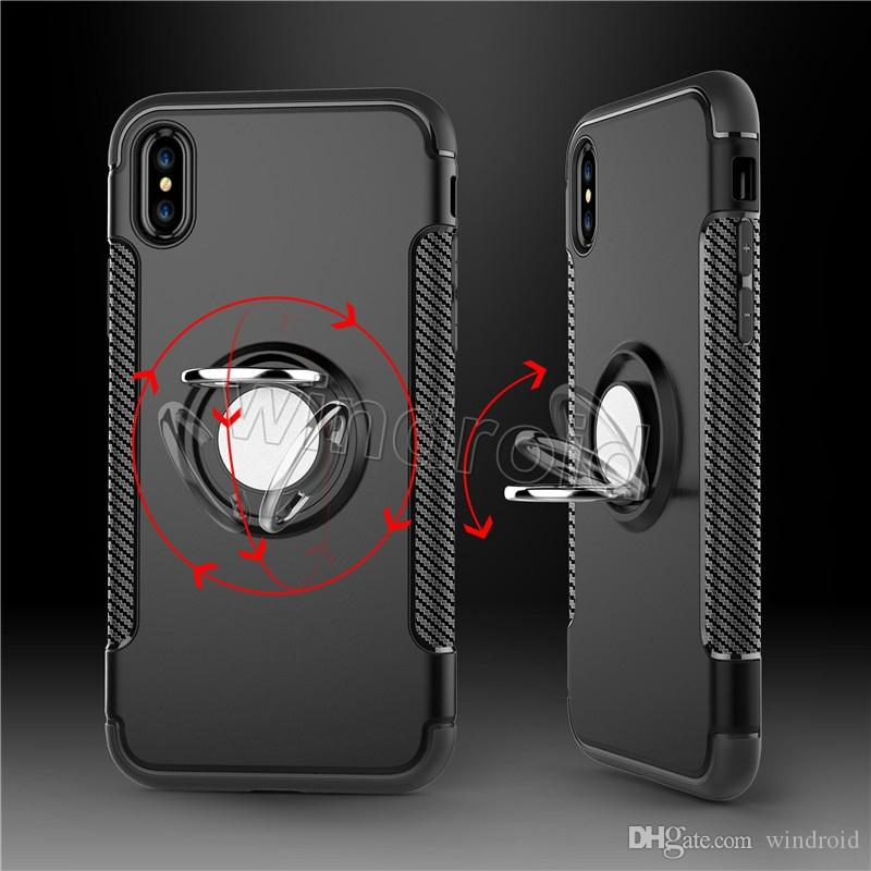 Hybrid TPU + PC 2-in-1 Armor Case Shock-Proof Cases 360 Ring Stand Holder Magnetic Back Cover For iPhone X i6 i7 i8 8 plus note 8 cheap