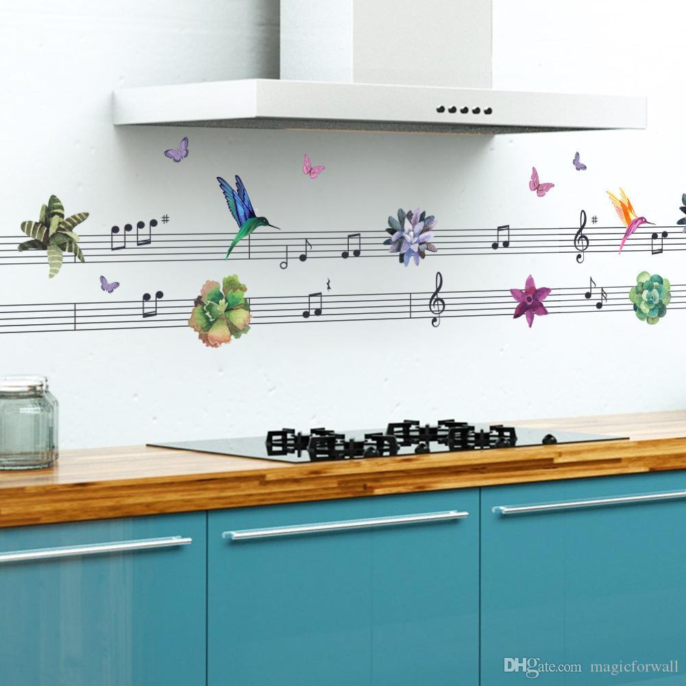 나비 새들의 플라워 음악 메모 벽 스티커 벽 테두리 데칼 장식 내각 창 유리 벽 그래픽 포스터 장식 월페이퍼