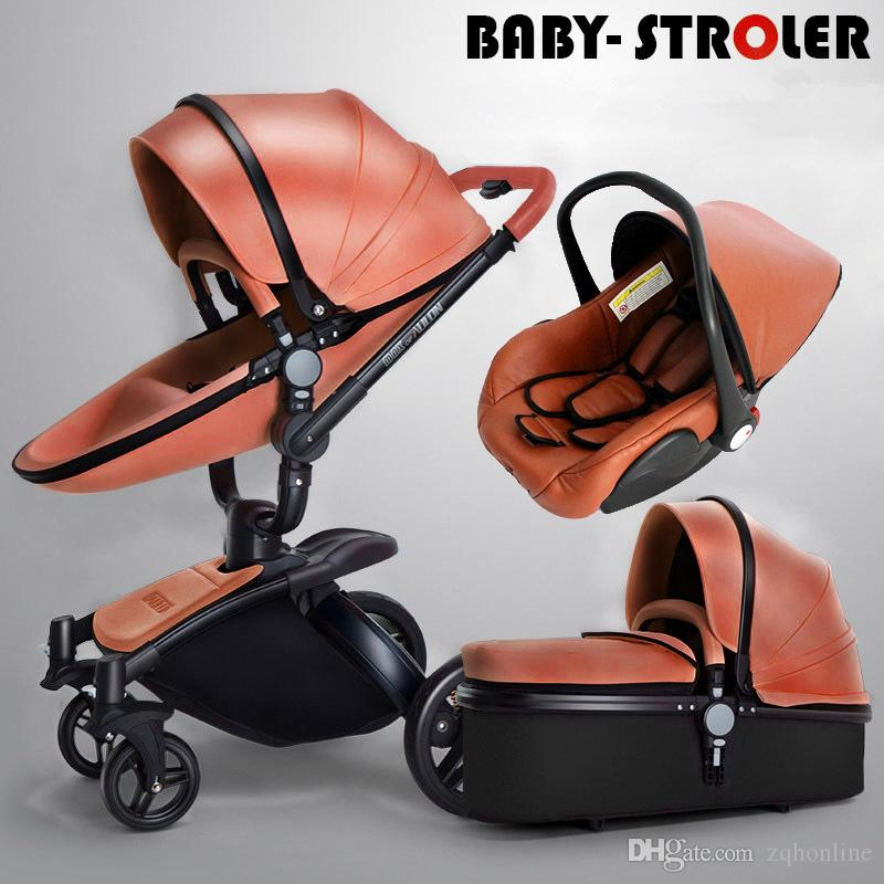 2018 Luxury PU Leather 3 In 1 Baby Stroller Pram Pushchair Sleeping Basket Car Seat 360 Rotation Suspension Bidirectional Trolley From