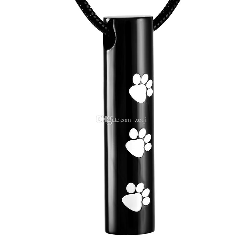 IJD2473 10 Silver 10 black Cylinder Stainless Steel Cremation Pendant Necklace Paw Print Pet Ashes Keepsake Urn Necklace Jewel